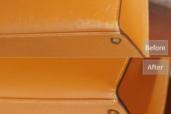 5d763f59e957e 隅の部分は擦れて、色が落ちたりキズが入ったりしていましたが、補修後は自然に色が入っています。 また、色が薄くなっていたコバ部分の色も、濃く補修されて 、より革 ...